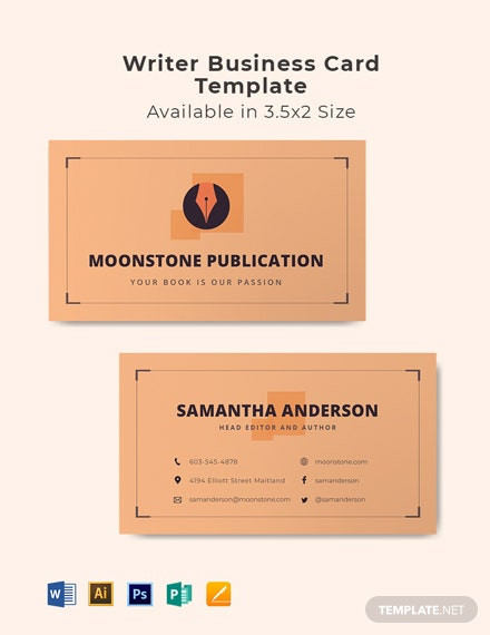 Writer Business Card Template
