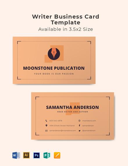 Writer Business Card Template