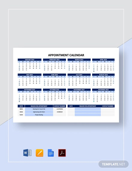 Free Appointment Calendar Template