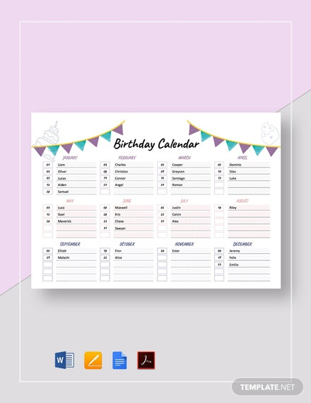 Free Birthday Calendar Template