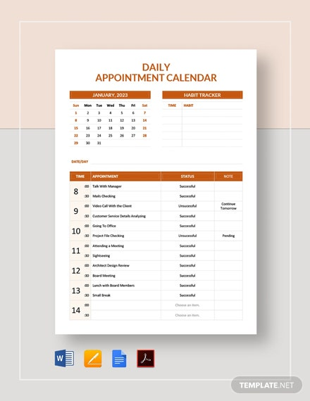 Free Daily Appointment Calendar Template