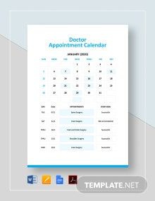 Free Doctor Appointment Calendar Template