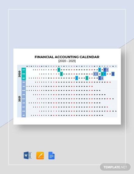 Free Financial Accounting Calendar Template