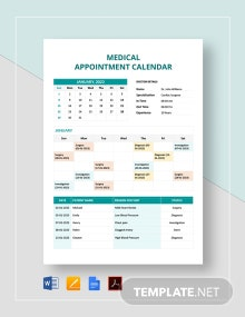 Free Medical Appointment Calendar Template