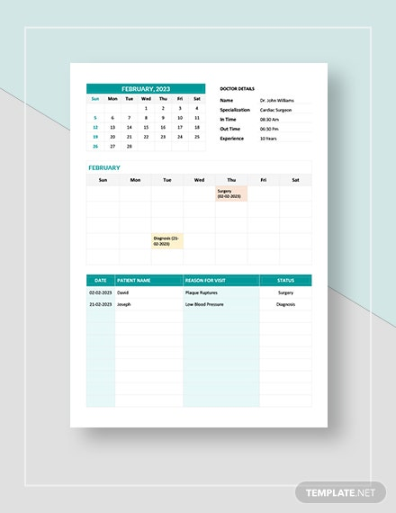 Medical Appointment Calendar Template