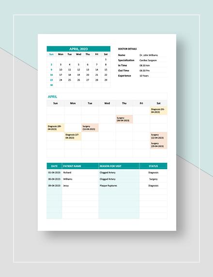 Sample Medical Appointment Calendar