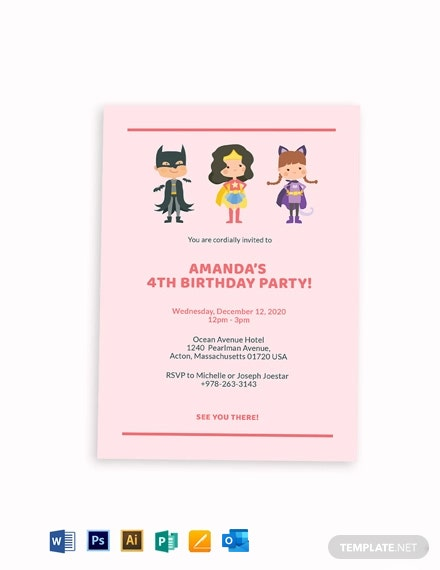 Superhero Themed Birthday Party Invitation Template
