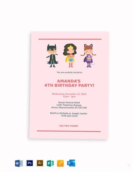 Superhero Themed Birthday Party Invitation Template
