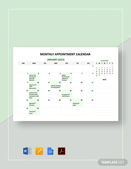 Free Monthly Appointment Calendar Template
