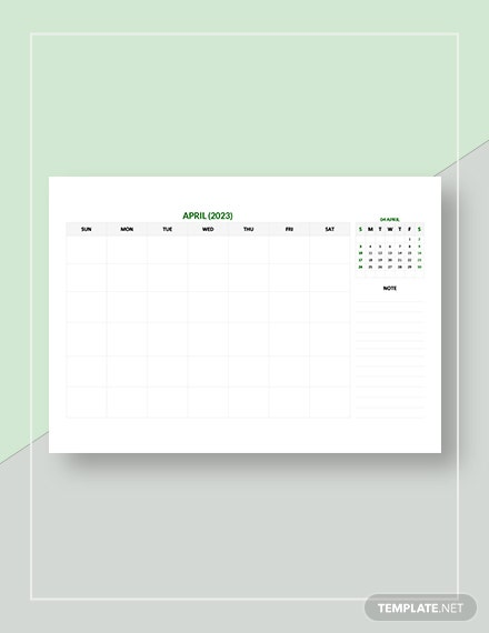 Sample Monthly Appointment Calendar