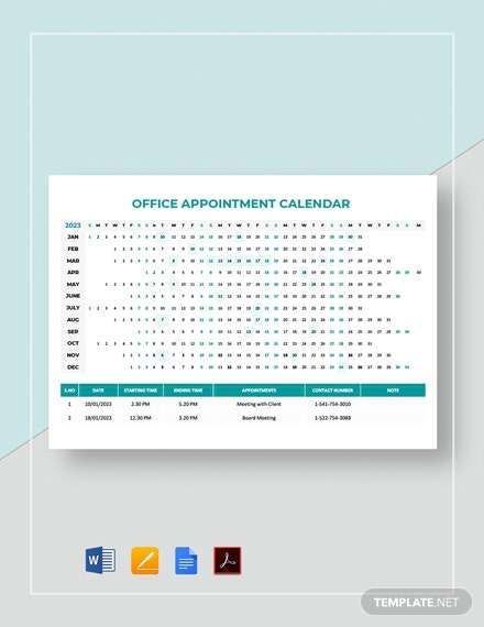 Free Office Appointment Calendar Template