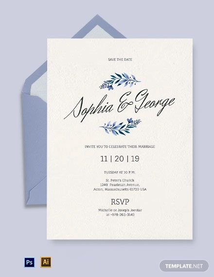 Simple Traditional Fall Wedding Invitation Template