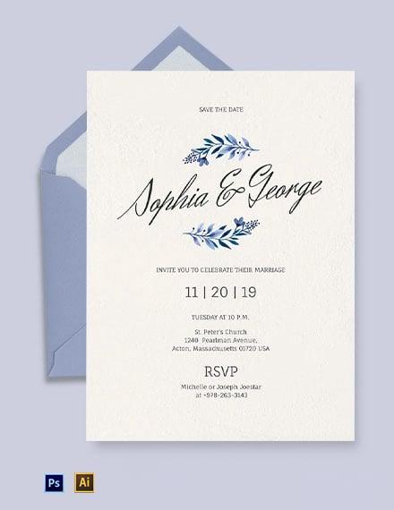 Simple Traditional Fall Wedding Invitation Template