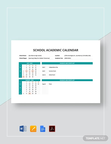 Free School Academic Calendar Template