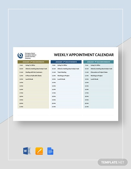 Free Weekly Appointment Calendar Template Word Google