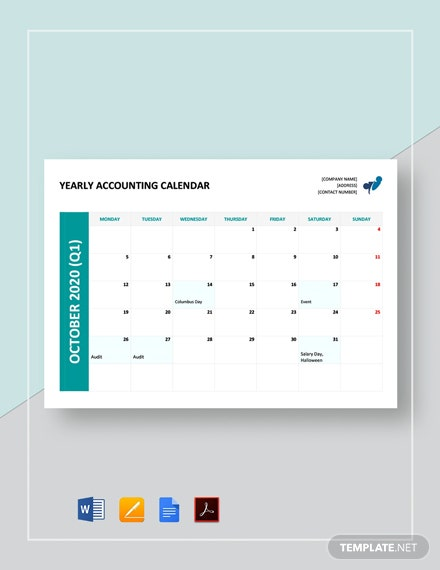 Free Yearly Accounting Calendar Template
