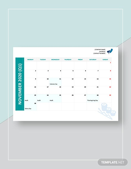 Yearly Accounting Calendar Template