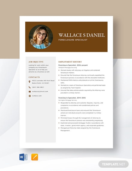 Foreclosure Specialist Resume Template