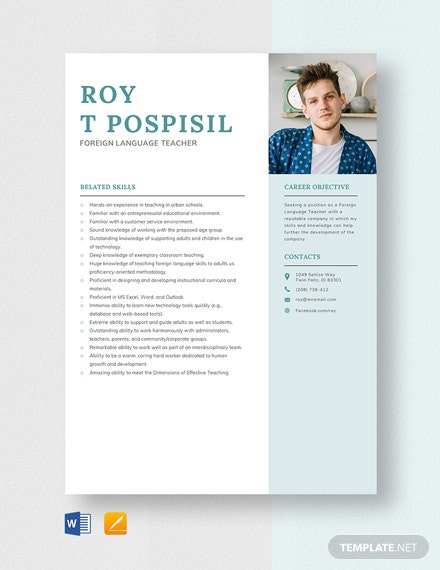 Foreign Language Teacher Resume Template