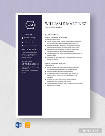 Forensic Pathologist Resume Template
