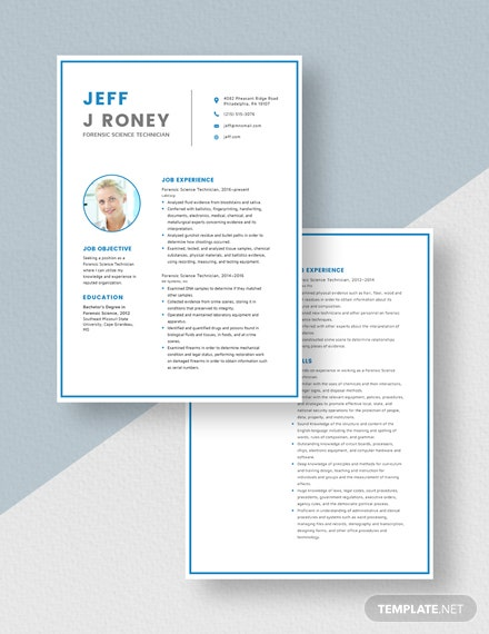 Forensic Science Technician Resume Download