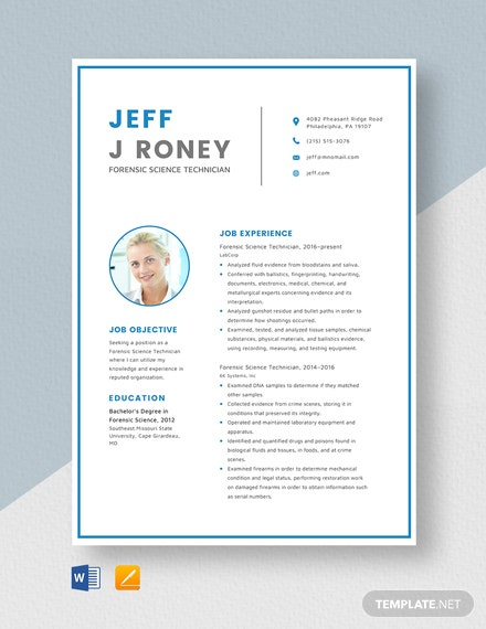 Forensic Science Technician Resume Template