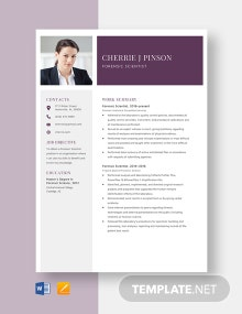Forensic Scientist Resume Template