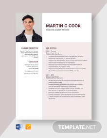 Forensic Social Worker Resume Template