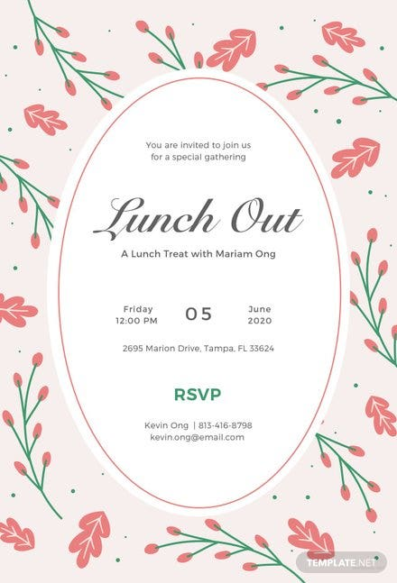 Free Lunch Invitation Template in Illustrator | Template.net