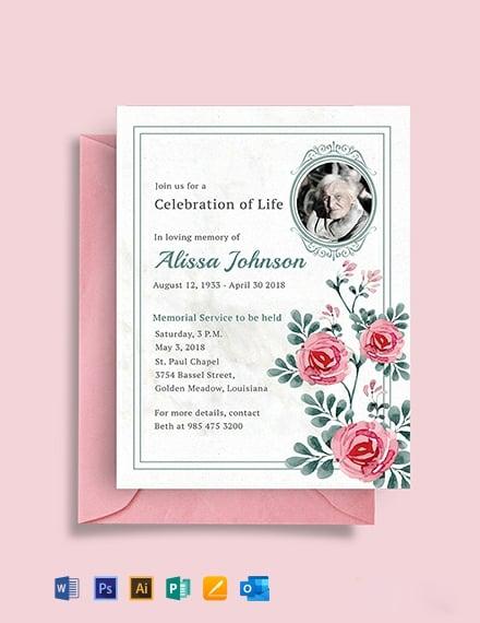 Free Memorial Service Invitation Template