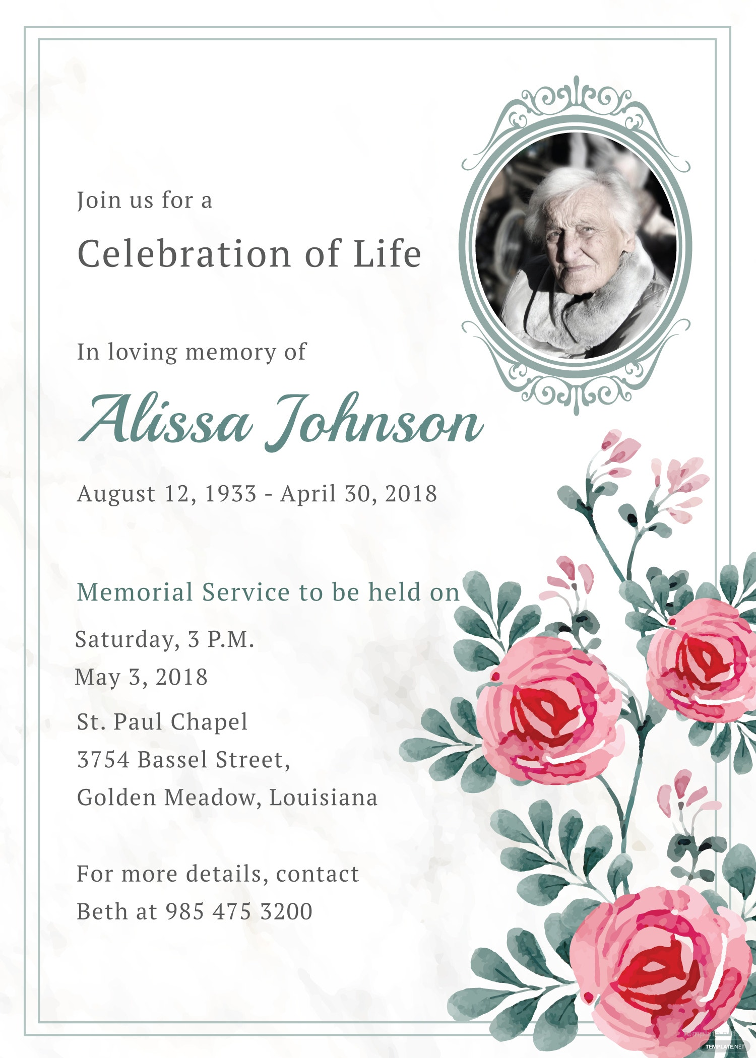 Memorial Service Invitation Template in Adobe Illustrator, Photoshop ...