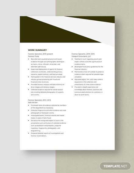 forensic specialist resumecv template  word  apple pages