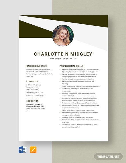 Forensic Specialist Resume Template
