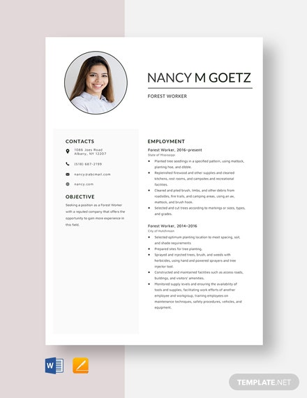 Forest Worker Resume Template