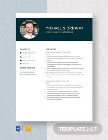 Forms Analysis Manager Resume Template