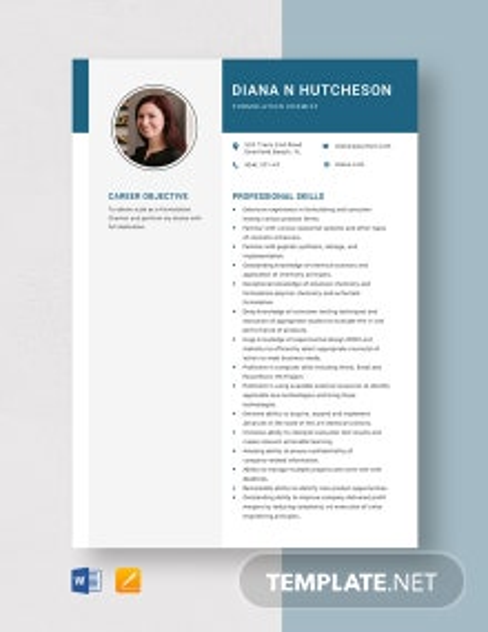 Formulation Chemist Resume Template