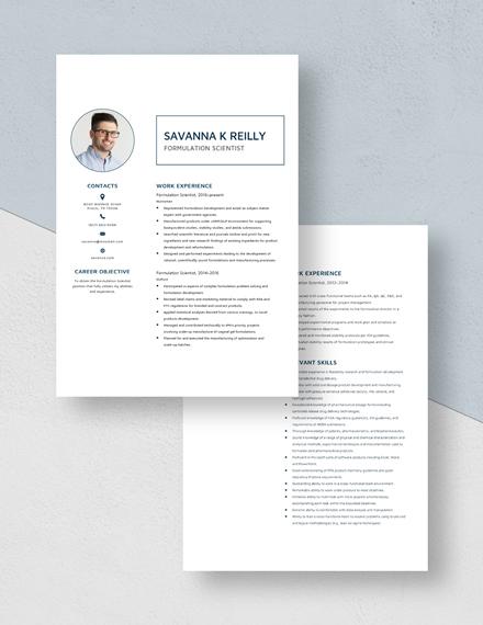 Formulation Scientist Resume Download