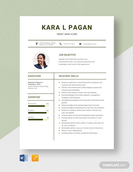 Front Desk Clerk Resume Template
