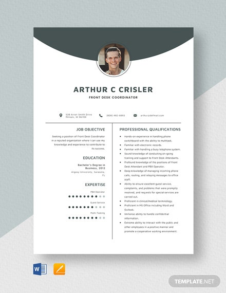 Front Desk Coordinator Resume Template