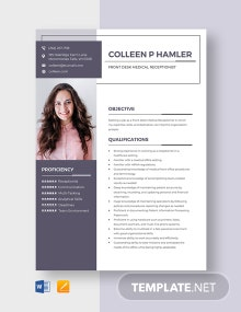 Front Desk Medical Receptionist Resume Template