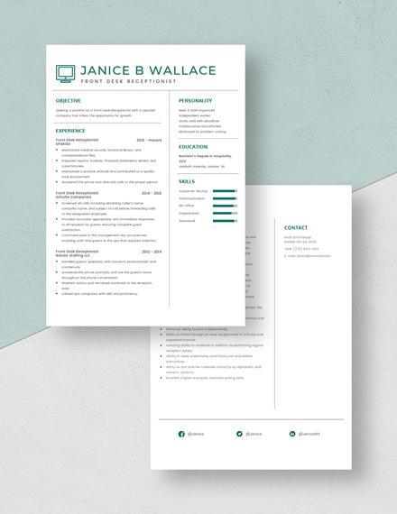 Front Desk Receptionist Resume Download
