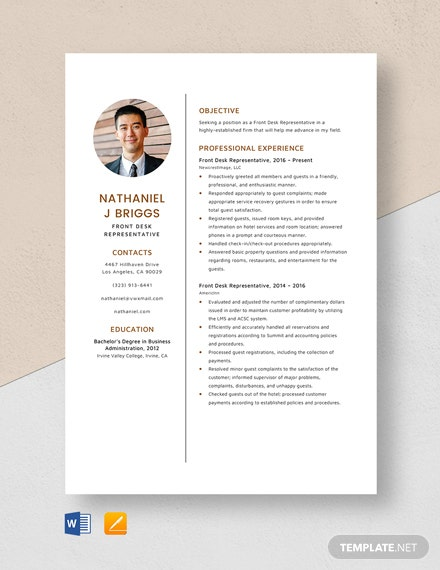 Front Desk Representative Resume Template