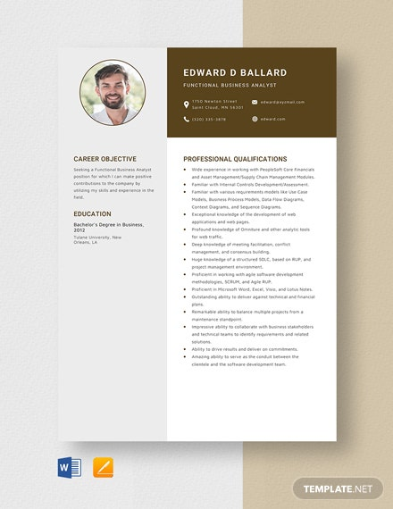 Functional Business Analyst Resume Template