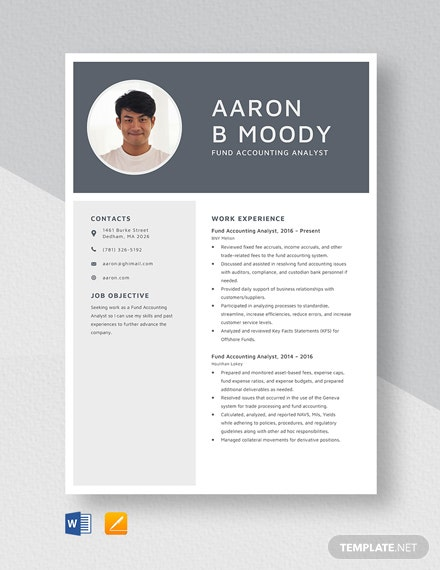 Fund Accounting Analyst Resume Template