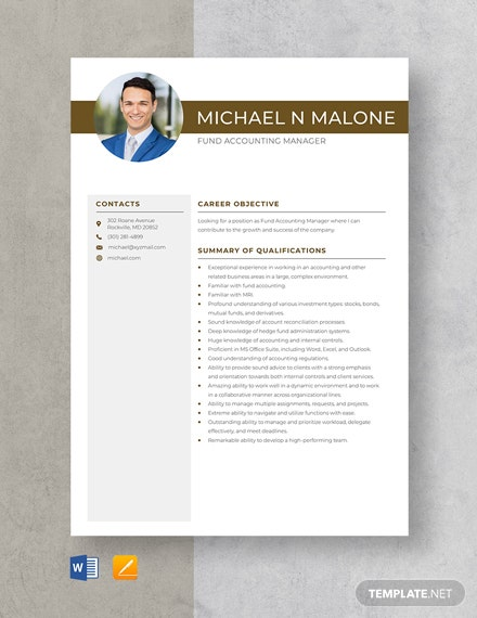 Fund Accounting Manager Resume Template