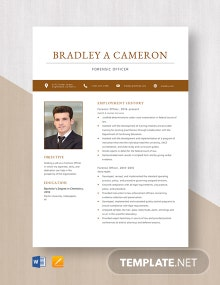 Forensic Officer Resume Template