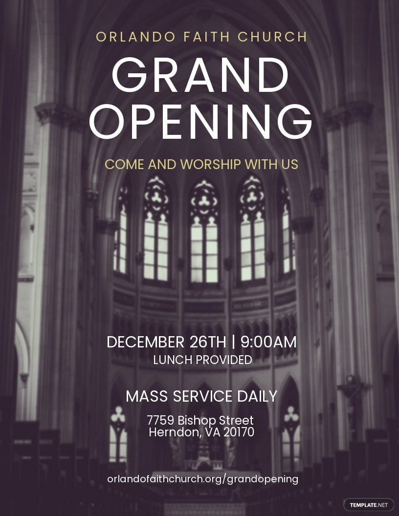 Faith Church Grand Opening Flyer Template [Free JPG] - Illustrator, InDesign, Word, Apple Pages, PSD, Publisher