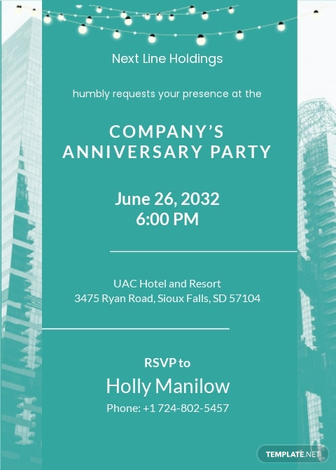 Corporate Party Invitation Card Template