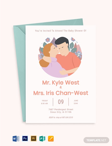 Couples Baby Shower Invitation Template