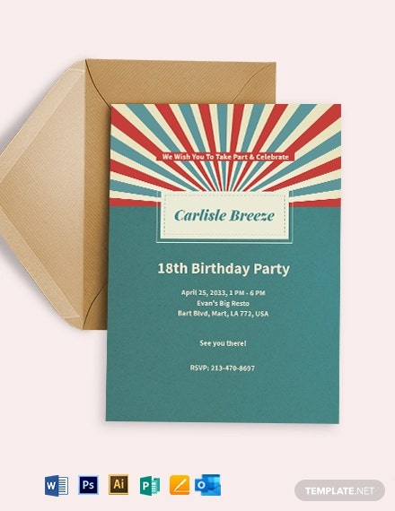 Retro Birthday Invitation Template